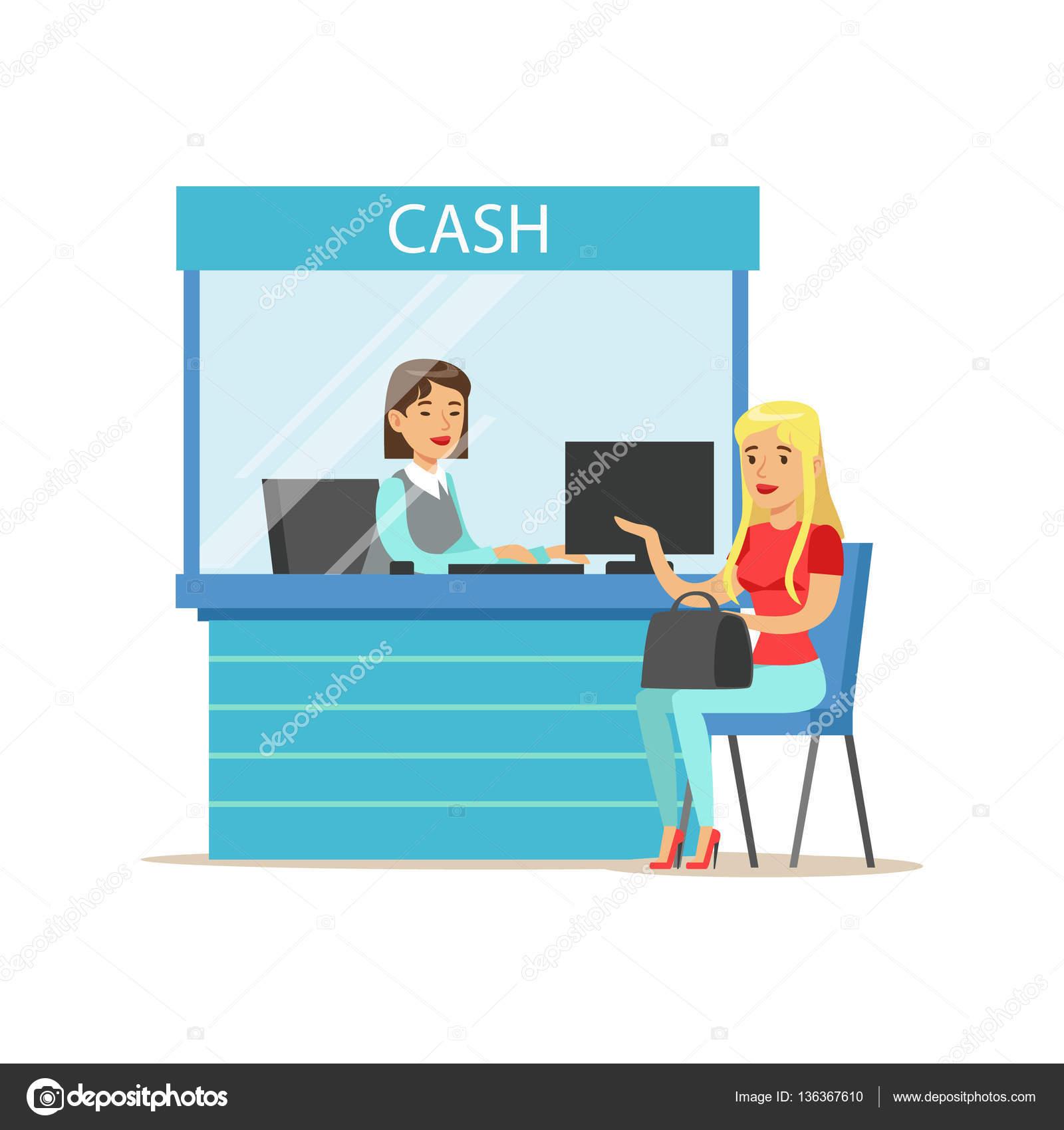Mujer de retirar efectivo en cajero de banco ilustraci n for Banco con mas cajeros