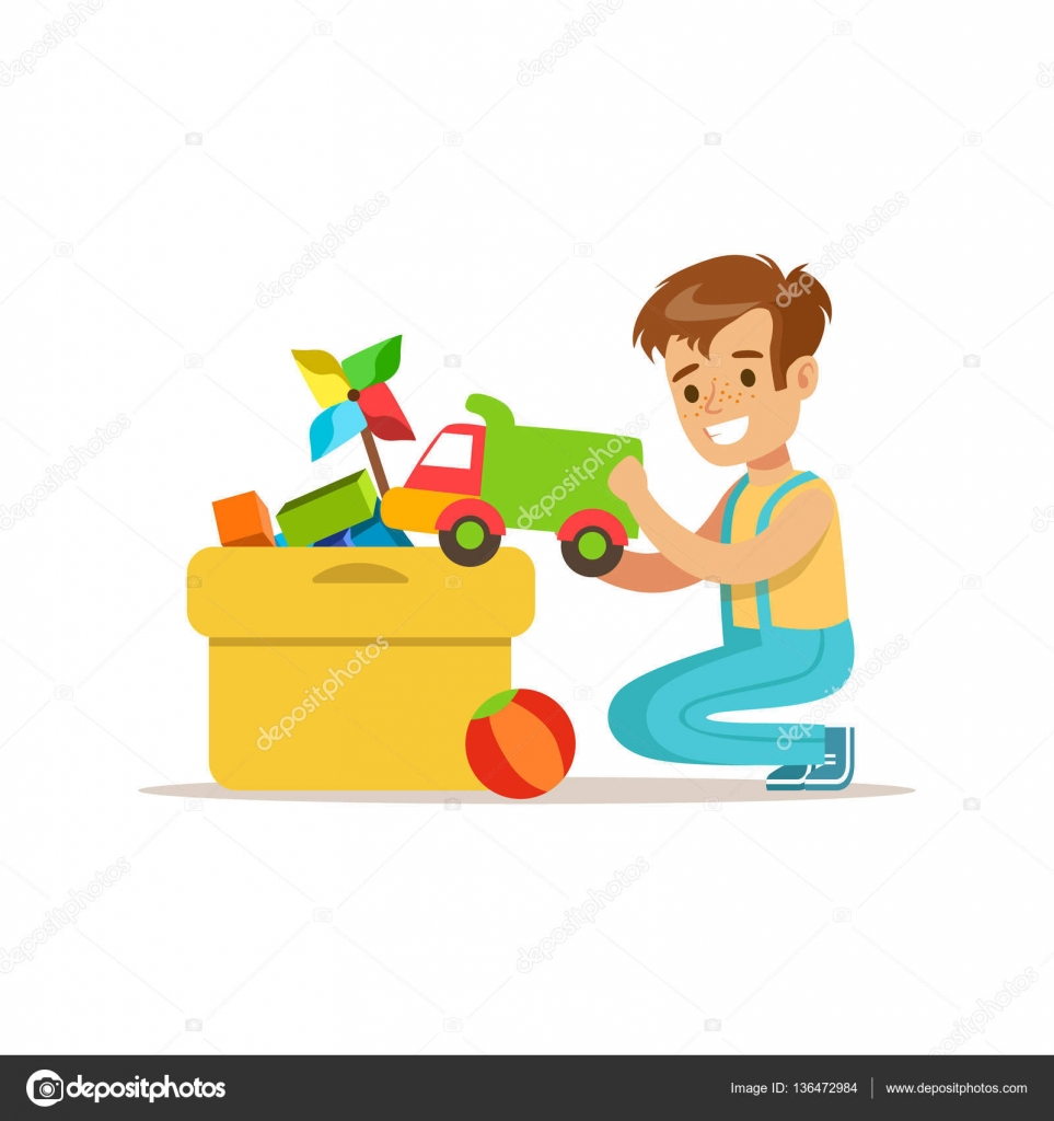 Boy Putting His Toys In Special Box Smiling Cartoon Kid ...