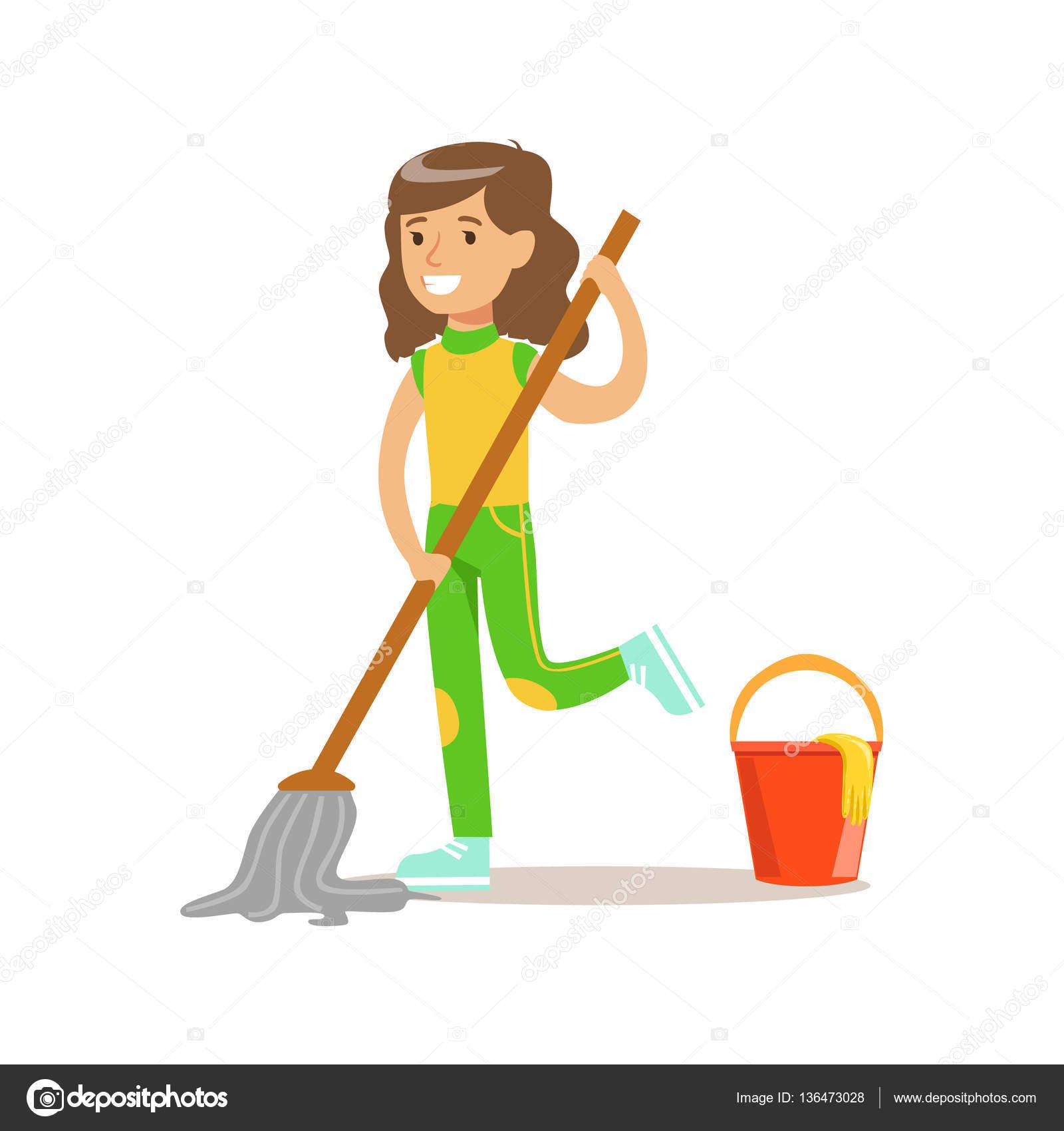 Chica lava el piso con trapeador y agua sonriente - Imagenes de limpieza de casas ...
