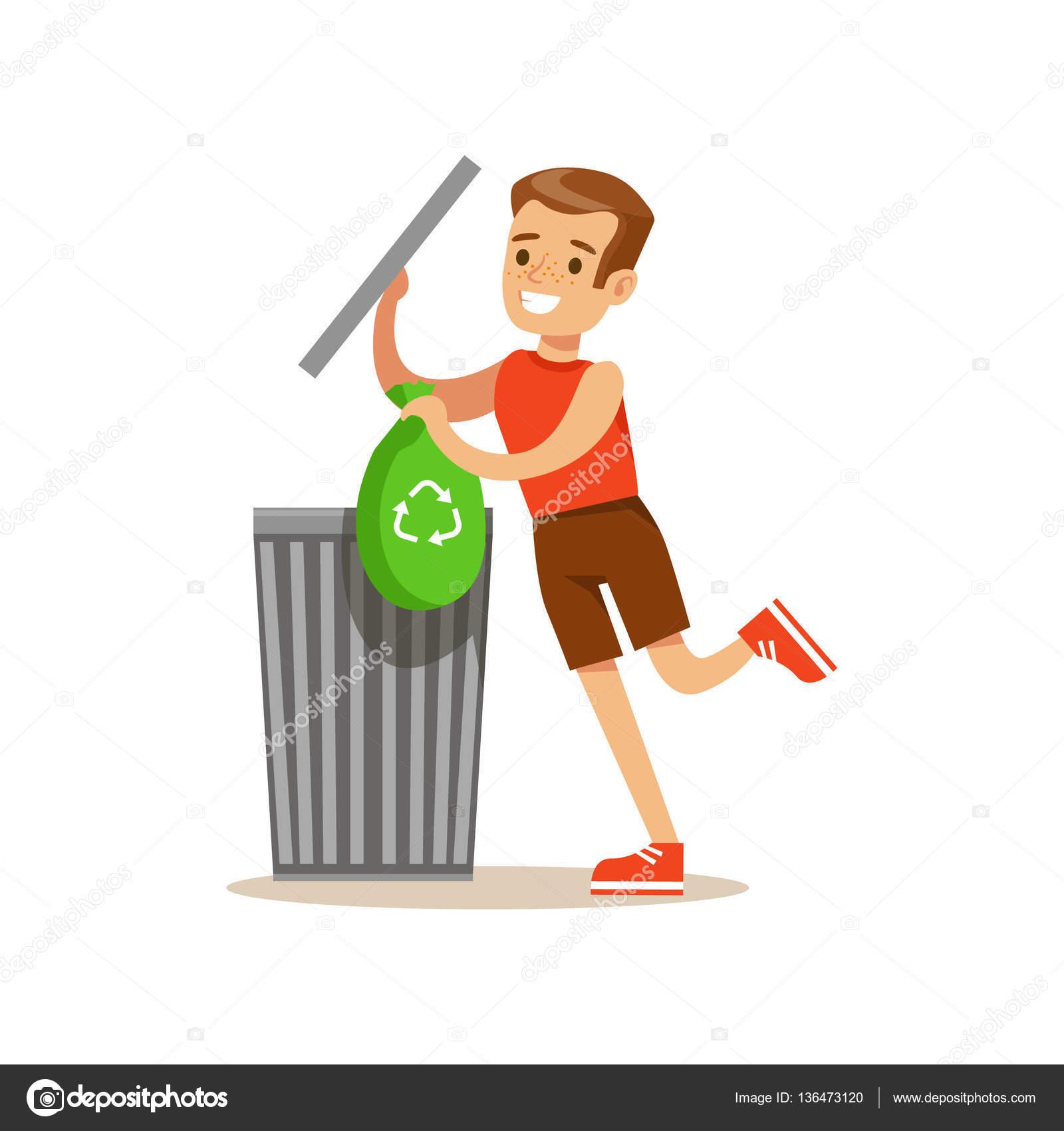 Ni o tirando basura reciclaje en bolsa de basura sonriente - Imagenes de limpieza de casas ...