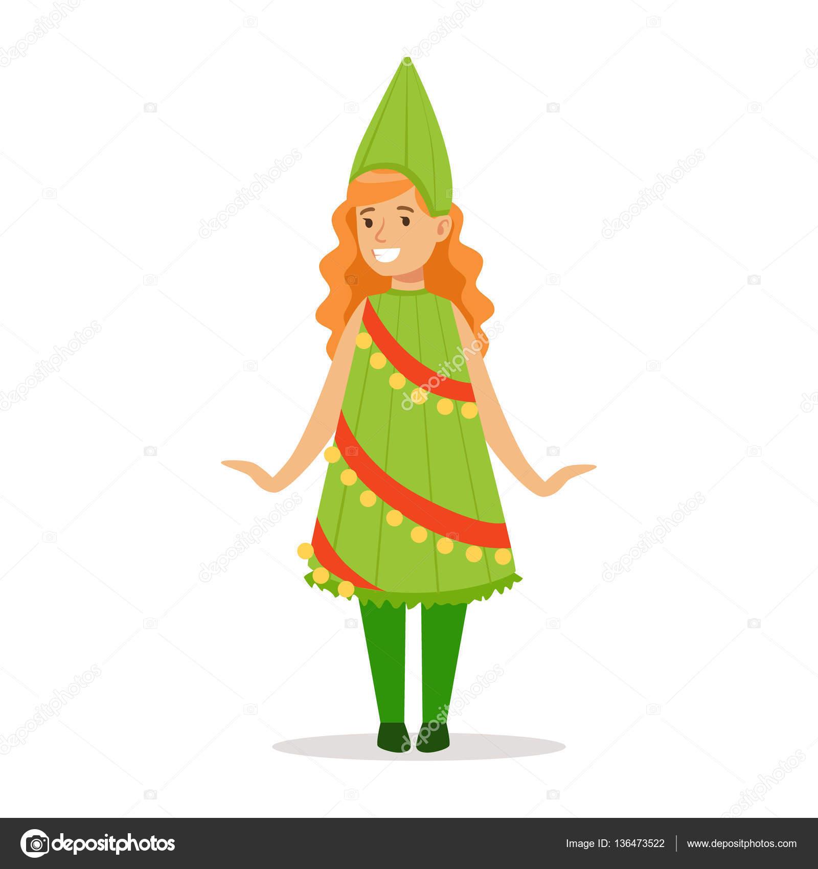 Mädchen In Weihnachtsbaum Outfit gekleidet wie Winter Urlaub Symbol ...