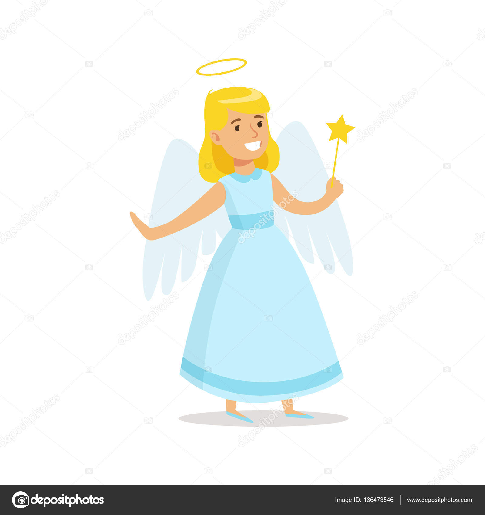 Christmas Carnival Theme Outfit.Girl In Angel Outfit Dressed As Winter Holidays Symbol For