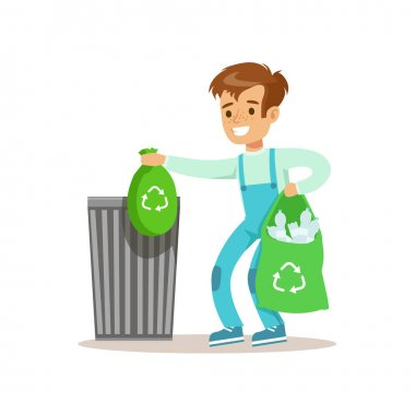 Boy Throwng Away Bin Bags Filled With Plastic Bottles Smiling Cartoon Kid Character Helping With Housekeeping And Doing House Cleanup