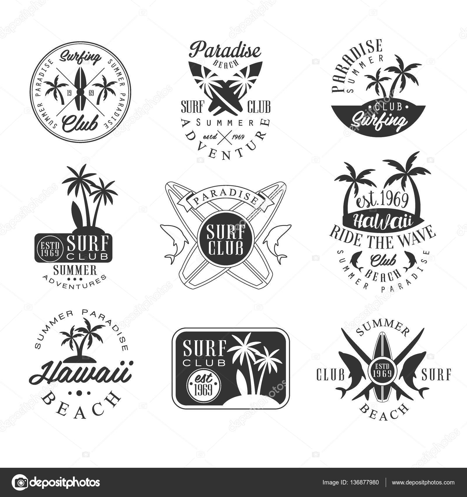 Summer Vacation In Hawaii Black And White Sign Design Templates With Text Tools Silhouettes Collection Of Monochrome Vector Emblems For Beach Surfing