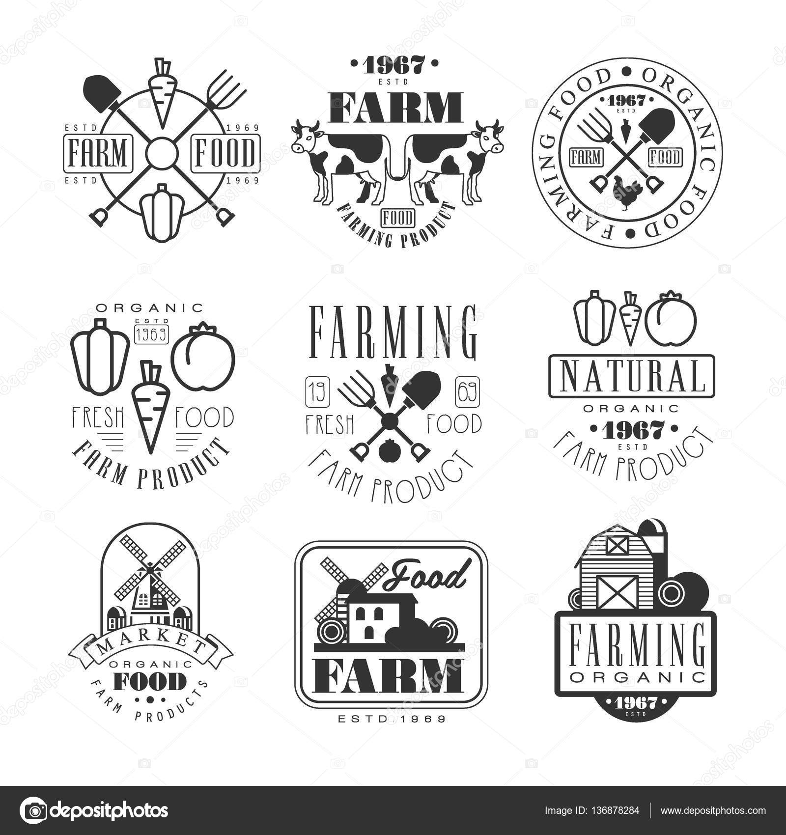 organic farm products black and white sign design templates with text and tools silhouettes stock