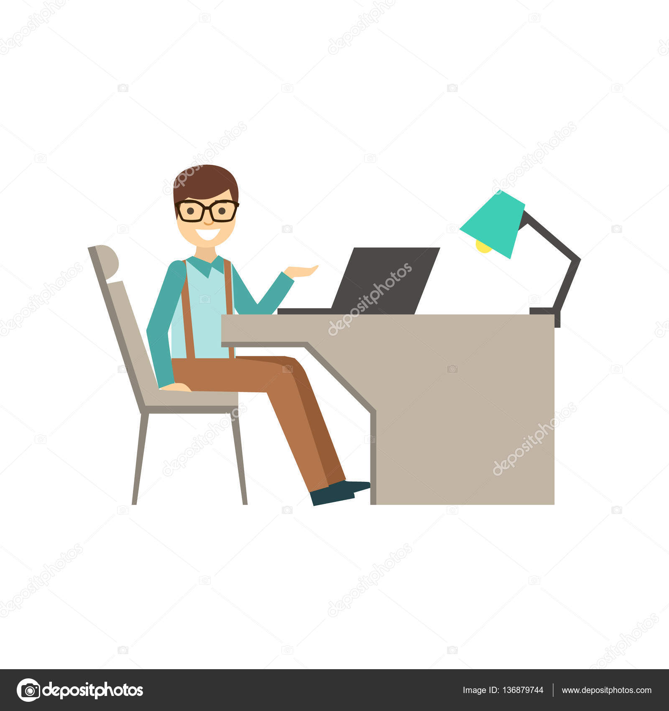 mn in glasses behind his desk coworking in informal atmosphere in modern design office. Black Bedroom Furniture Sets. Home Design Ideas