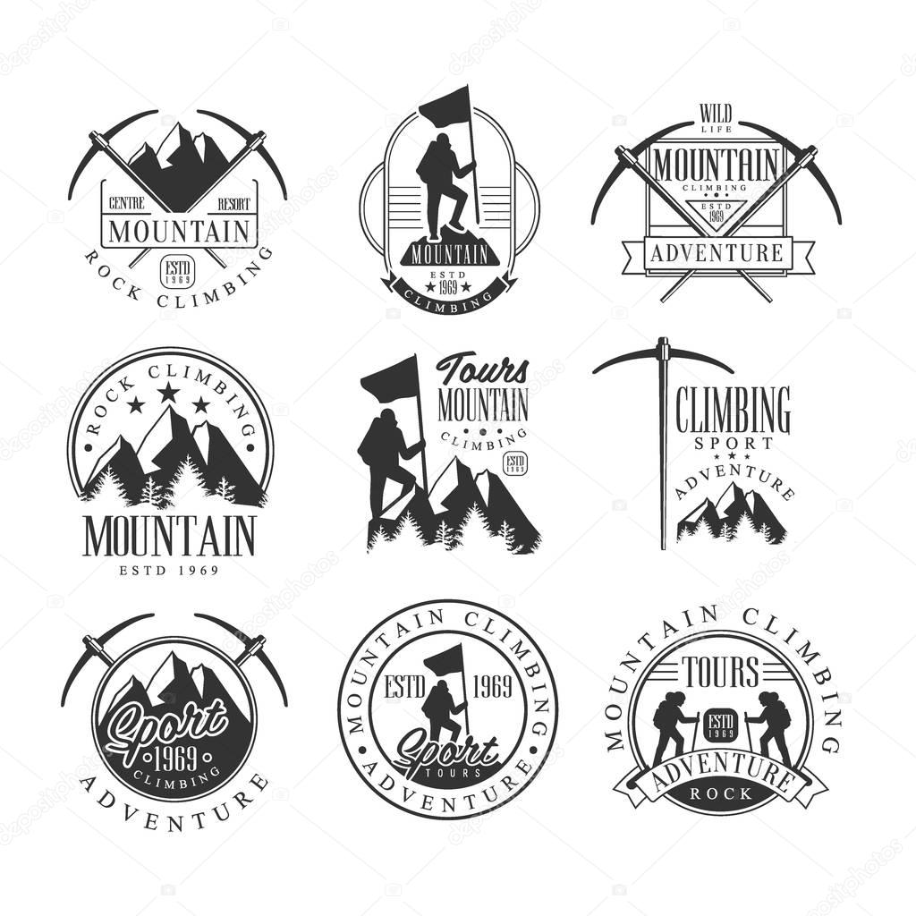 Mountain Climbing Extreme Adventure Tour Black And White Sign Design Templates With Text And Tools Silhouettes