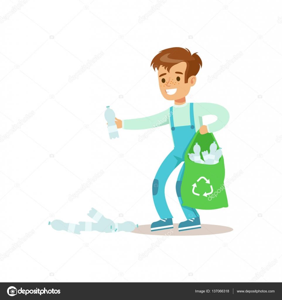 Junge Kommissionierung recyceln Müll helfende im Öko-Garten im ...