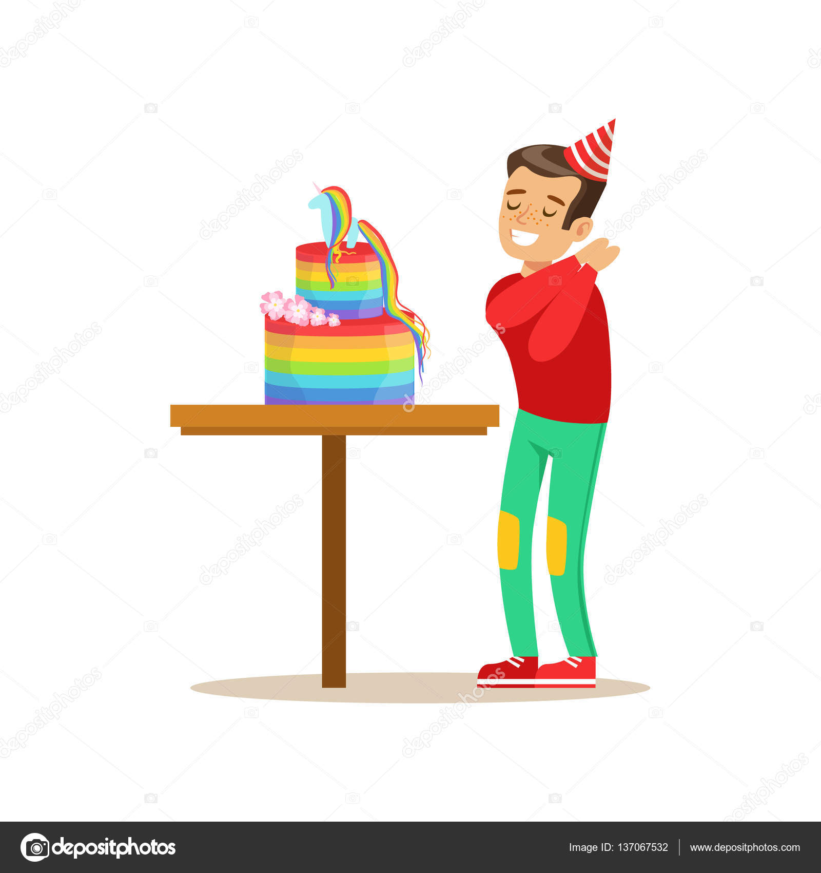 Boy Enjoying Rainbow Cake Kids Birthday Party Scene With Cartoon