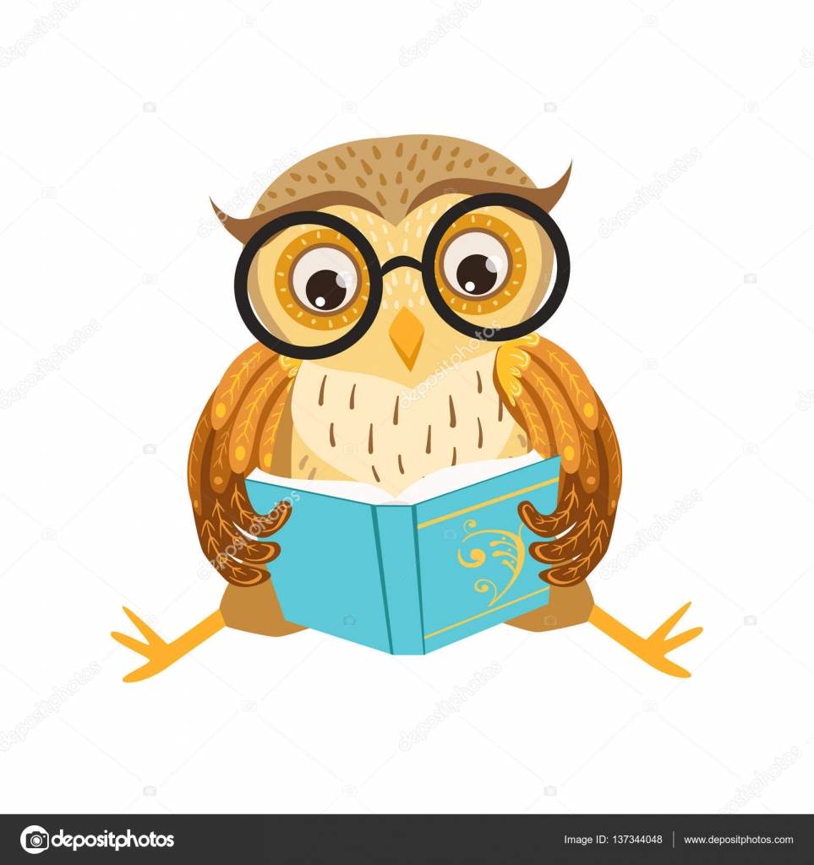 Chouette Lecture Le Livre Cute Cartoon Caractere Emoji Avec