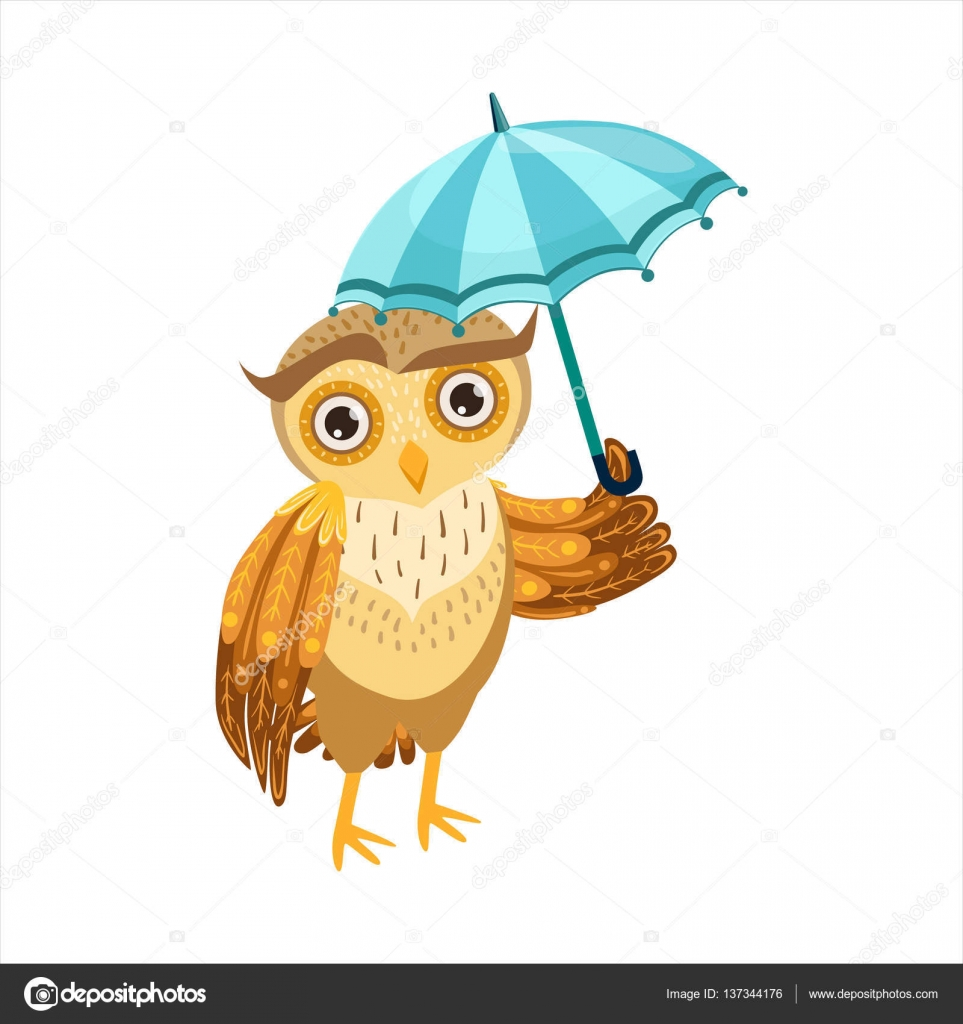 Owl With Umbrella Cute Cartoon Character Emoji With Forest