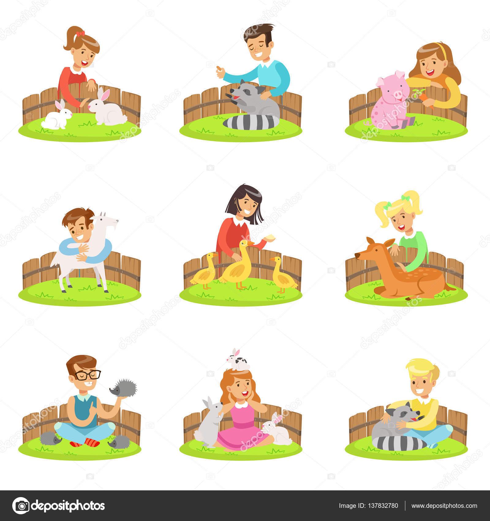 漫画イラスト楽しく子供たちとのふれあい動物園セットで小動物を