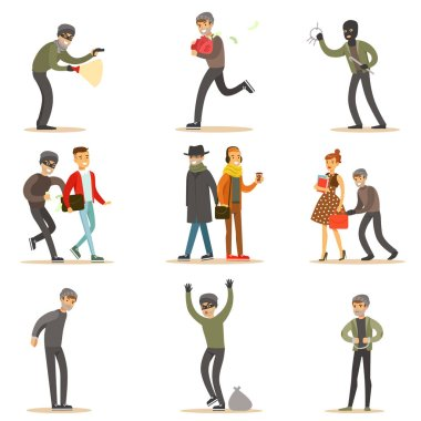 Burglars, Pickpockets And Thieves Set Of Smiling Criminals At The Crime Scene Stealing Vector Illustrations
