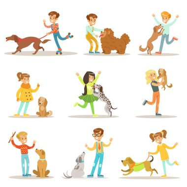 Children And Dogs Illustrations Set With Kids Playing And Taking Care Of Pet Animals