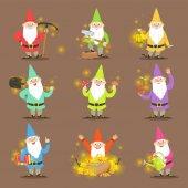 Klasický zahradní trpaslíky v barevné oblečení sada kreslené postavy různých situací