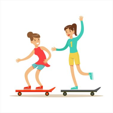 Happy Best Friends Riding Skateboards Together, Part Of Friendship Illustration Series