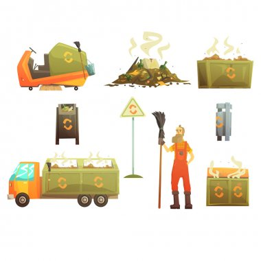 Waste Recycling And Disposal Related Object Around Garbage Collector Man Set Of Cartoon Bright Icons