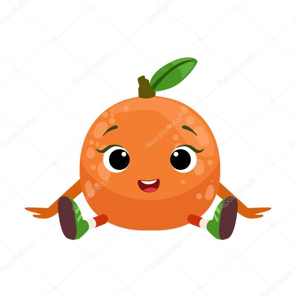 Big Eyed Cute Girly Orange Character Sitting, Emoji Sticker With Baby Fruit