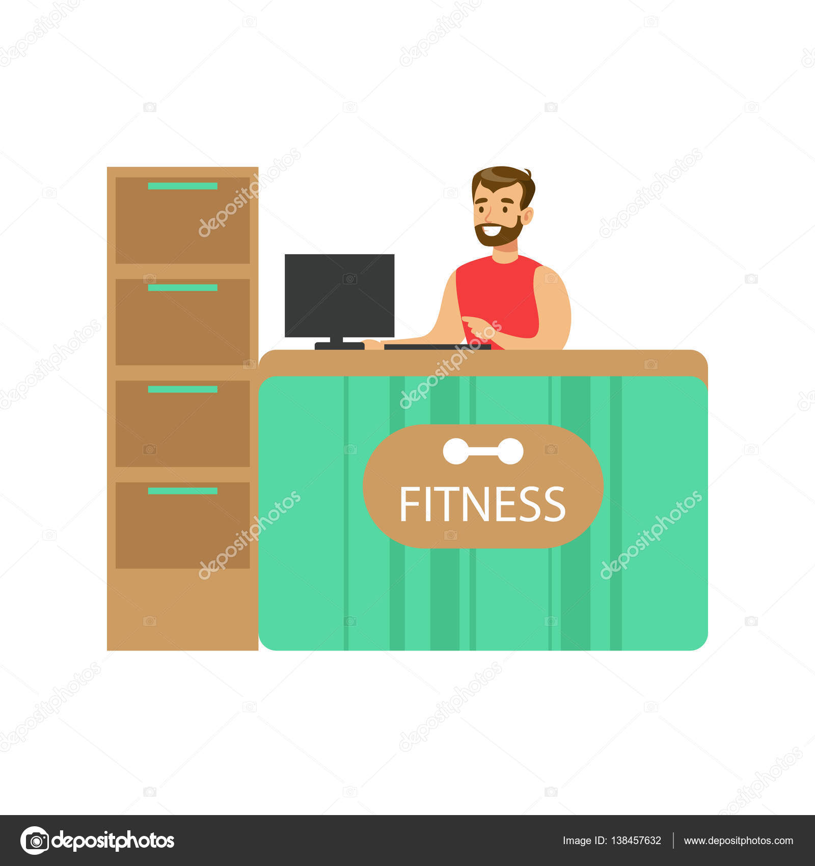 Fitness club reception counter with male receptionist and computer fitness club reception counter with male receptionist and computer stock vector 138457632 sciox Images