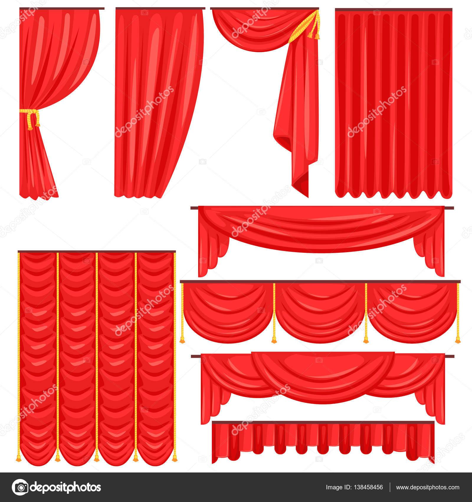 Verschillende soorten theatrale fase gordijn en gordijnen In rood ...