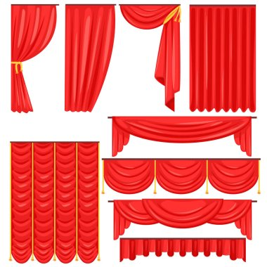 Different Types Of Theatrical Stage Curtain And Drapes In Red Velour Vector Collection