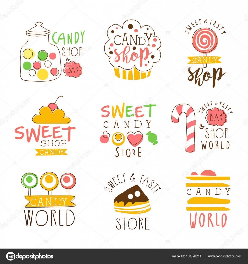 Tienda de dulces Promo firma serie de plantillas de diseño colorido ...