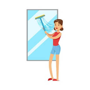 Woman Housewife Cleaning The Window With Squeegee, Classic Household Duty Of Staying-at-home Wife Illustration. Smiling Female Character And Her Domestic Affairs Vector Drawing. stock vector