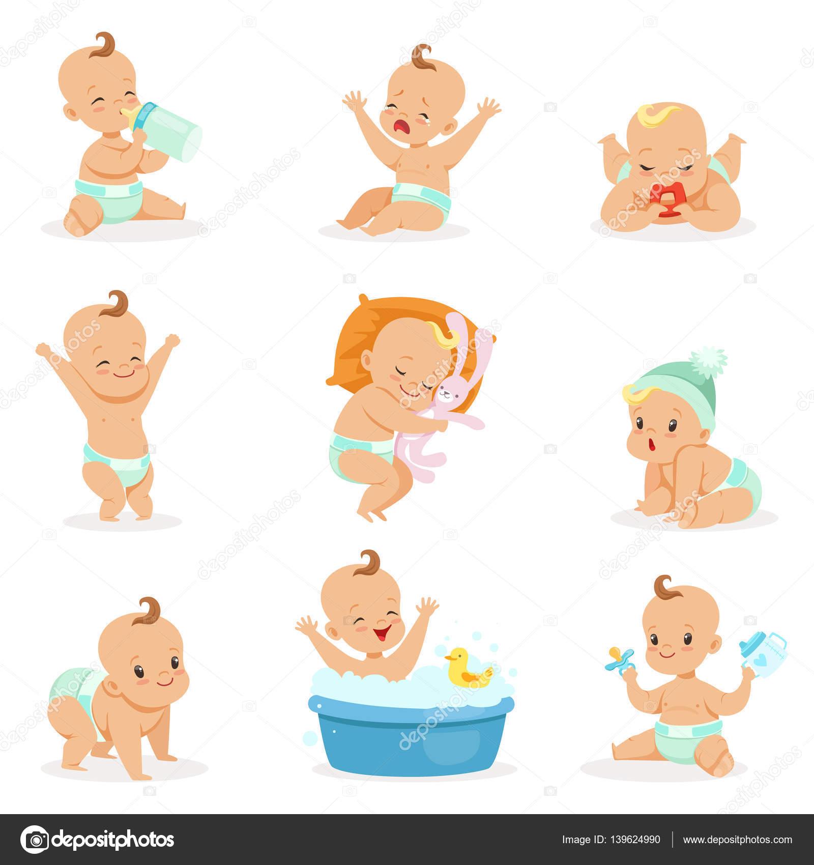 adorable beb feliz y su conjunto habitual diario de infancia dibujos animados e ilustraciones infantiles vector pegatinas con escenas de la vida de nio y