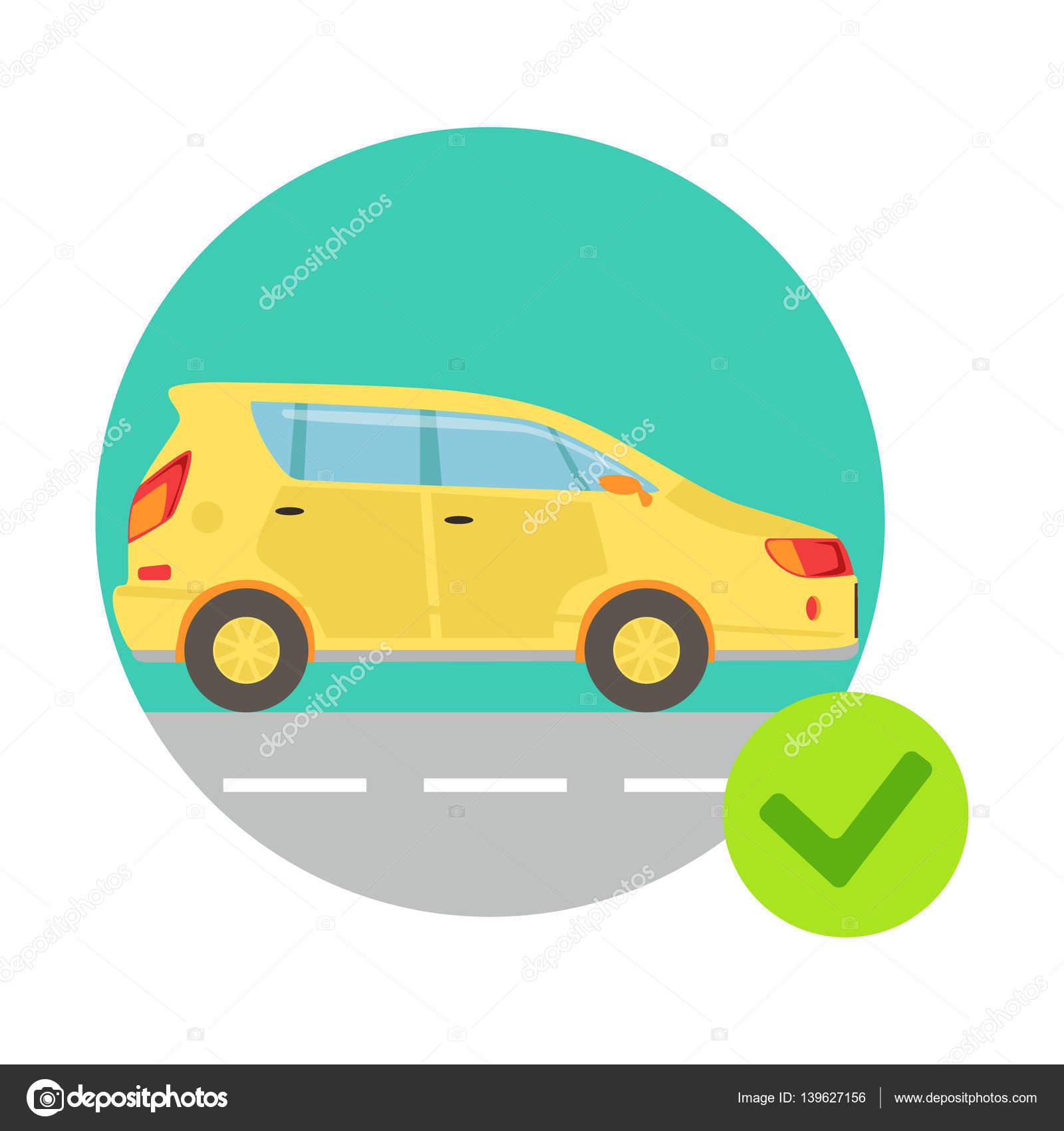 Gelbes Auto In Runde Rahmen, Versicherung Dienstleistungen ...