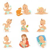 Fotografie Adorable Happy Baby And His Daily Routine Set Of Cute Cartoon Infancy And Infant Illustrations