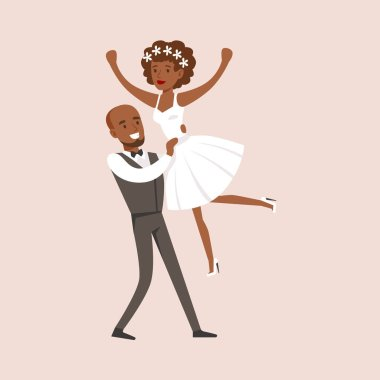 Newlyweds Doing Dirty Dancing Finale At The Wedding Party Scene