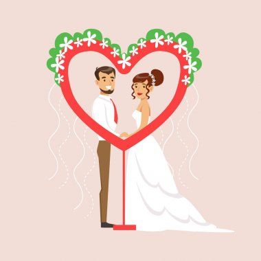 Newlyweds Posing In Heart-Shaped Frame At The Wedding Party Scene
