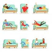 Fotografie Lidé odpočívat na domácí relaxaci na pohovku nebo křeslo s líný volného času a odpočinku soubor ilustrací