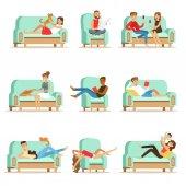 Fotografie Lidé odpočívá doma odpočívat na pohovku nebo křeslo s líný, volného času a odpočinku Seris ilustrací