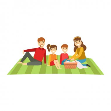 Parents And Kids Having Picnic, Happy Family Having Good Time Together Illustration