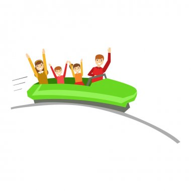 Parent And Kids On Rollercoaster Ride In Amusement Park, Happy Family Having Good Time Together Illustration