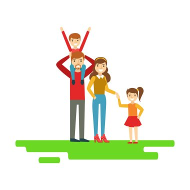 Parents And Kids Holding Hands In Park, Happy Family Having Good Time Together Illustration