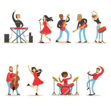 Artists Playing Music Instruments And Singing On Stage Concert Set Of Musicians Cartoon Vector Characters
