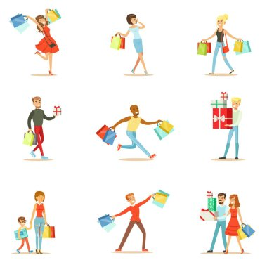 Shopaholic People Happy And Excited Running With Paper Shopping Bags Smiling Carton Characters Collection