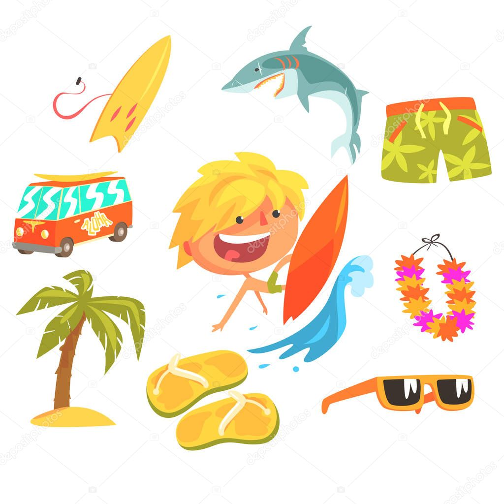 Boy Surfer Extreme Sportsman, Kids Future Dream Professional Occupation Illustration With Related To Profession Objects
