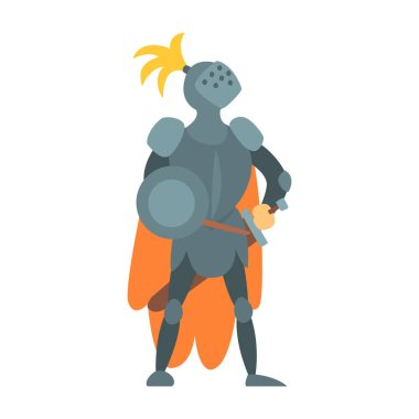 Knight Fairy With Orange Cape And Shield Tale Cartoon Childish Character. Flat Vector Illustration With Medieval Soldier Legend Story Hero stock vector