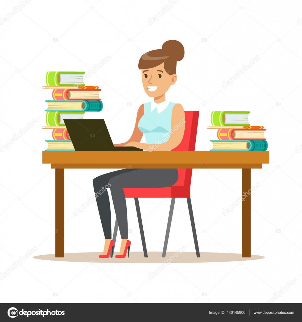 Mulher com lap top na mesa rodeada por pilhas de livros for Bankia particulares oficina internet entrar