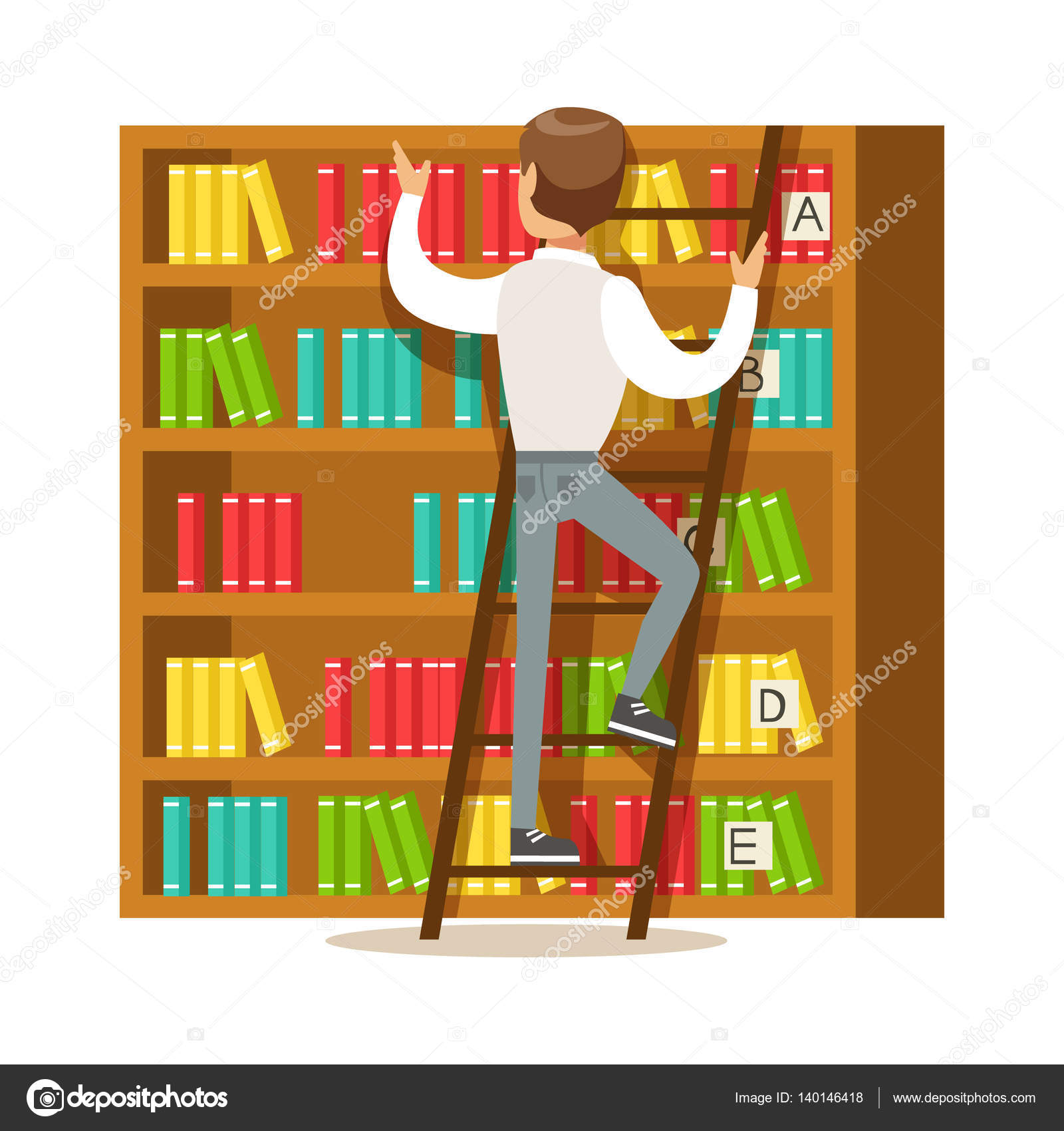 homme la recherche d un livre sur l tag re sourire personne dans l illustration de vecteur. Black Bedroom Furniture Sets. Home Design Ideas