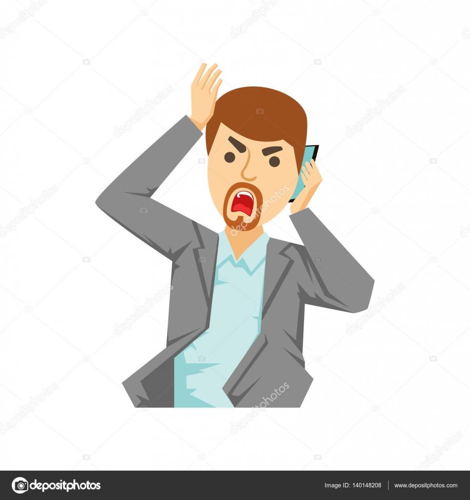 Oficina enojado trabajador gritando en el tel fono for La oficina telefono