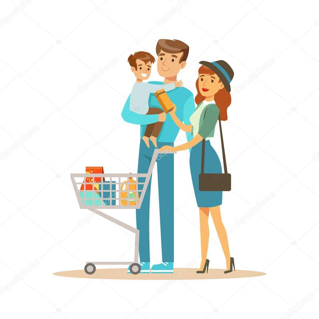 wei en familie mit warenkorb im kaufhaus zeichentrickfigur die dinge im shop kaufen. Black Bedroom Furniture Sets. Home Design Ideas