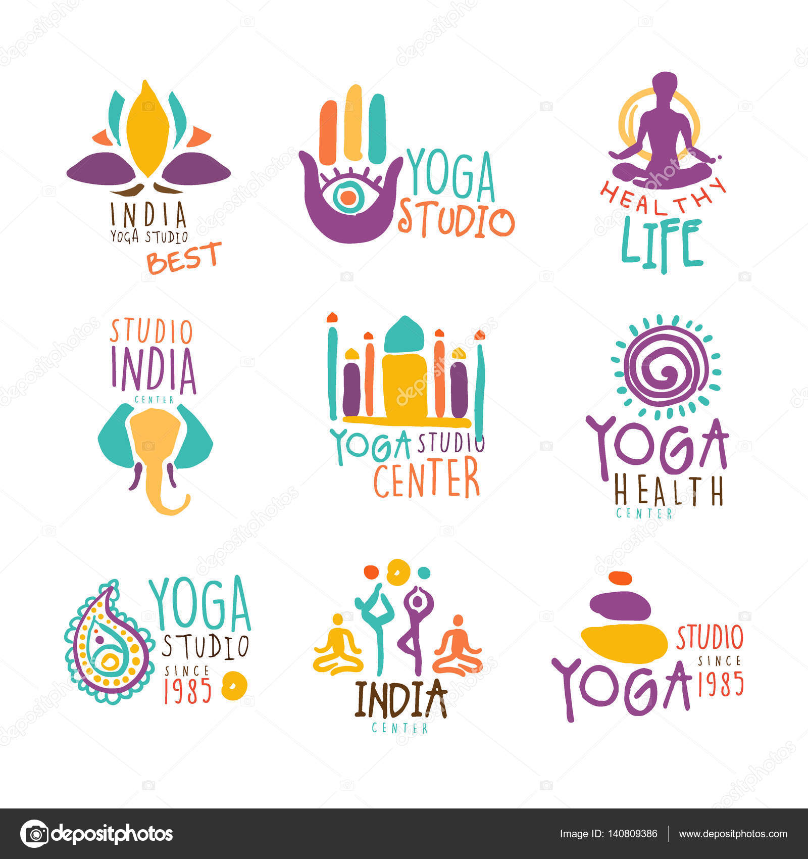 Yoga Center Set Of Colorful Promo Sign Design Templates With Different  Indian Spiritual Symbols For Fitness