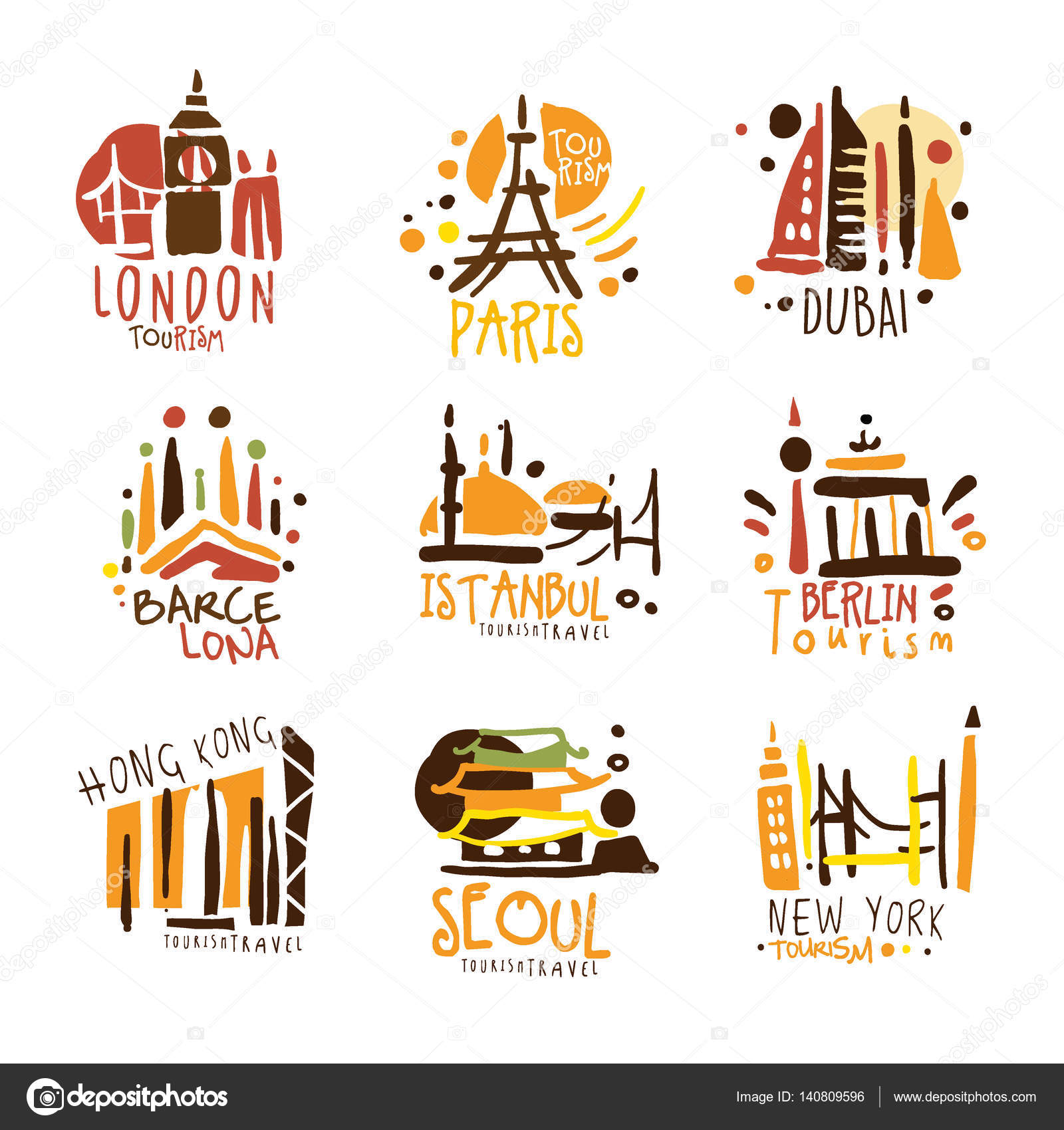 Touristic Travel Agency Set Of Colorful Promo Sign Design Templates With Different Tourism Cities And Their