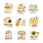 Photo Touristic Travel Agency Set Of Colorful Promo Sign Design Templates With Different Tourism Countries And Their Famous Objects