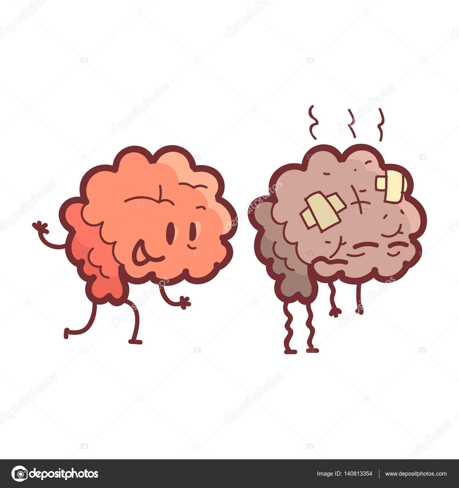 Gehirn menschliche innere Organ gesund Vs ungesund, medizinische ...