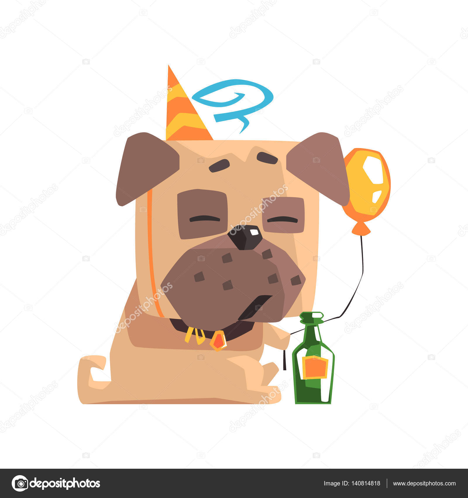 Little Pet Pug Dog Puppy With Collar Having A Birthday Party With